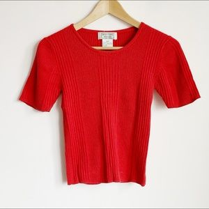 red ribbed stretchy 90s knit short sleeve top